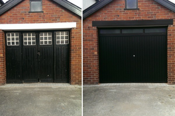 Photos of installations before and after completion.