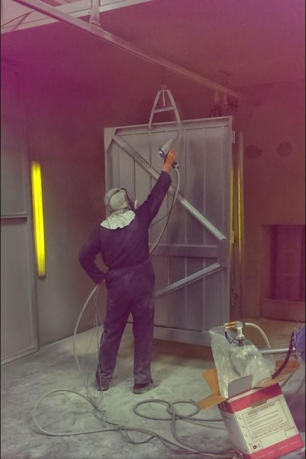 Garage Door Production - Door Spraying
